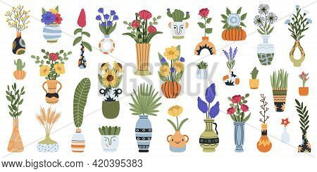 Vases With Flowers. Blooming Lilac, Narcissus And Tulips Flowers Bouquets In Ceramic, Clay Or Porcel