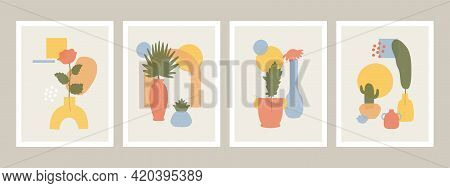 Abstract Vases Posters. Abstract Minimalist Vases, Flowers And Leaves Shapes, Hand Drawn Still Life