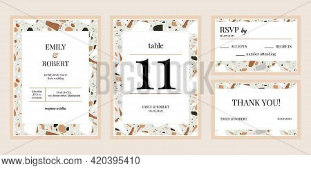 Mosaic Texture Wedding Invitations. Marble Or Granite Mosaic Textures Bridal Flyers Vector Illustrat