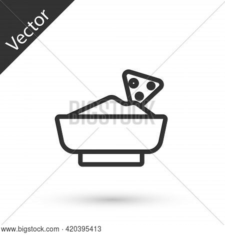 Grey Line Nachos In Bowl Icon Isolated On White Background. Tortilla Chips Or Nachos Tortillas. Trad