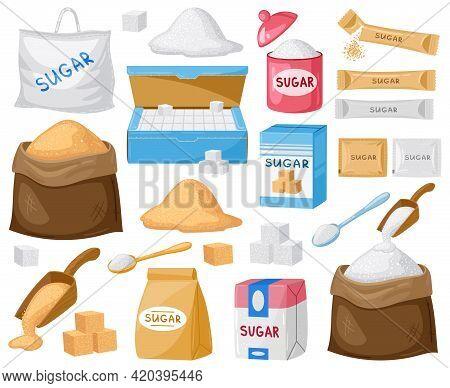 Cartoon Sugar. Cube Sugar, Granulated And Crystalline Sugar, Sugar In Canvas Bags And Carton Package