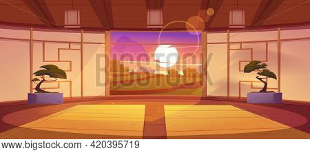 Dojo, Traditional Japanese Room For Karate And Meditation. Vector Cartoon Interior Of Empty Dojo Wit