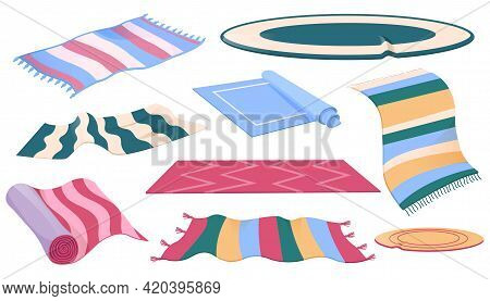 Set Of Carpets Or Rugs Of Different Shapes, Designs And Colors. Floor Covering, Interior Decor, Mats