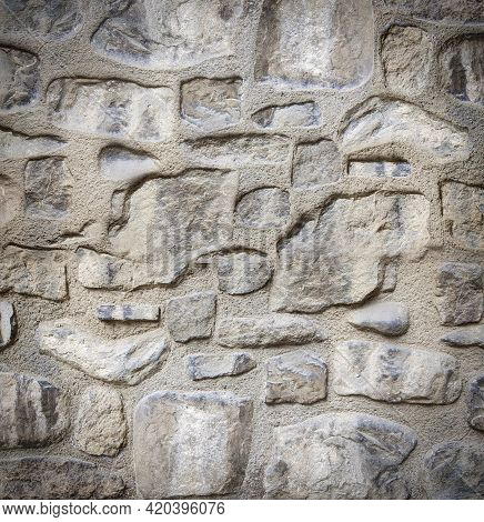 Close Up White Brick Wall, Texture Of Whitened Masonry As A Background