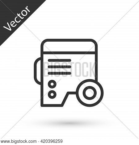 Grey Line Portable Power Electric Generator Icon Isolated On White Background. Industrial And Home I