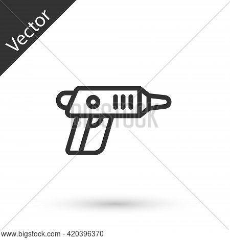 Grey Line Electric Cordless Screwdriver Icon Isolated On White Background. Electric Drill Machine. R