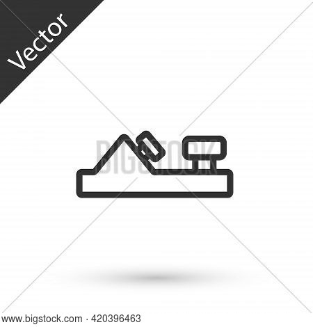 Grey Line Wood Plane Tool For Woodworker Hand Crafted Icon Isolated On White Background. Jointer Pla