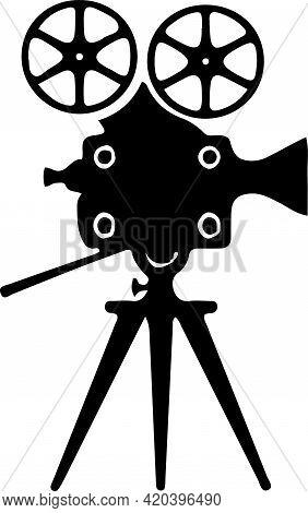 Movie Projector Icon On Background , Stage, Studio, Symbol