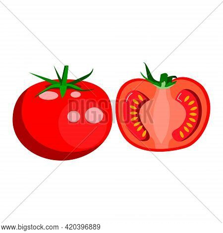 A Tomato, A Red Round Tomato, And Half A Pitted Tomato. Vector Isolated On A White Background.