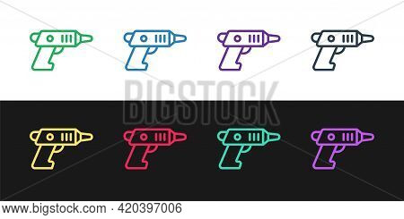 Set Line Electric Cordless Screwdriver Icon Isolated On Black And White Background. Electric Drill M