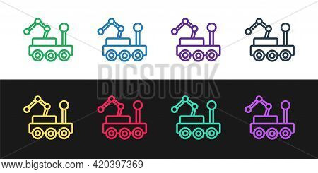 Set Line Mars Rover Icon Isolated On Black And White Background. Space Rover. Moonwalker Sign. Appar