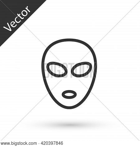Grey Line Alien Icon Isolated On White Background. Extraterrestrial Alien Face Or Head Symbol. Vecto