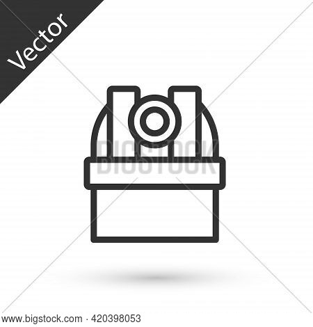 Grey Line Astronomical Observatory Icon Isolated On White Background. Observatory With A Telescope.
