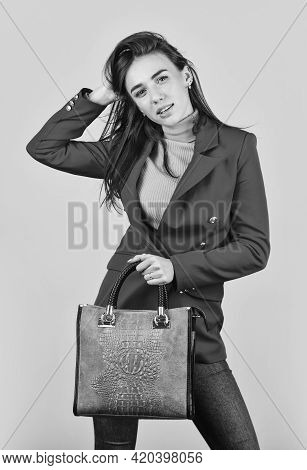 Perfect Design. Fashionable Woman In Jacket. Fashion Autumn Winter. Female Trendy Beauty. Handbag An