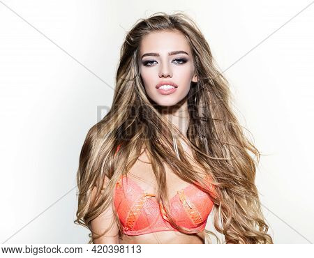 Sexy Sensual Young Woman In Red Bra Isoalted On White. Sexy Breast Of Girl With Bra. Woman With Natu