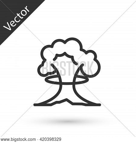 Grey Line Nuclear Explosion Icon Isolated On White Background. Atomic Bomb. Symbol Of Nuclear War, E