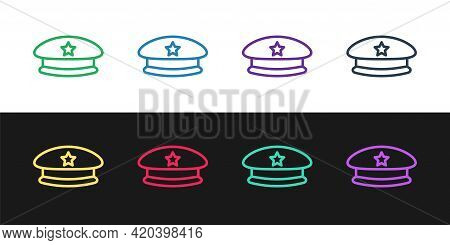 Set Line Military Beret Icon Isolated On Black And White Background. Soldiers Cap. Army Hat. War Bar