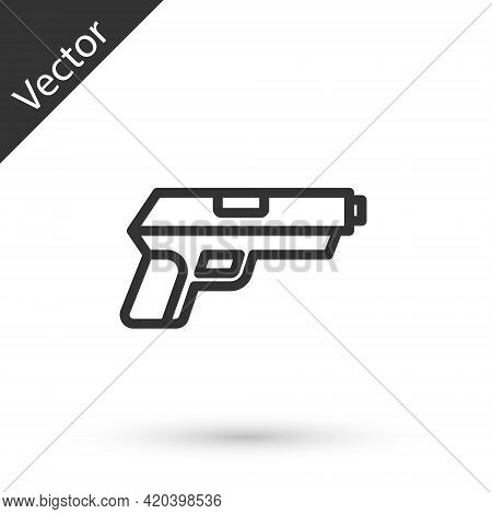 Grey Line Pistol Or Gun Icon Isolated On White Background. Police Or Military Handgun. Small Firearm