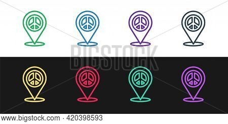 Set Line Location Peace Icon Isolated On Black And White Background. Hippie Symbol Of Peace. Vector