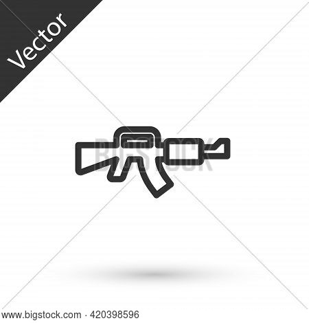 Grey Line M16a1 Rifle Icon Isolated On White Background. Us Army M16 Rifle. Vector