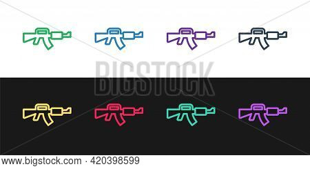 Set Line M16a1 Rifle Icon Isolated On Black And White Background. Us Army M16 Rifle. Vector