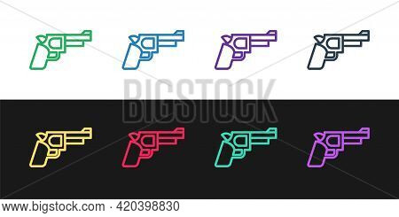 Set Line Pistol Or Gun Icon Isolated On Black And White Background. Police Or Military Handgun. Smal