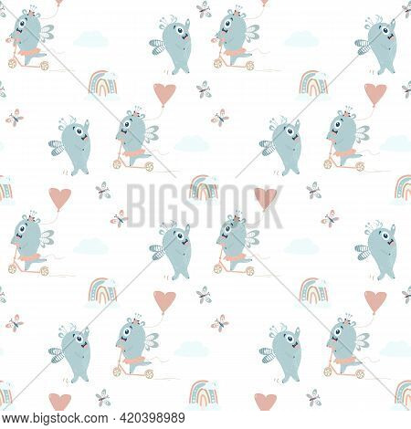 Seamless Pattern With Cute Monsters. A Pair Of Winged Blue Monsters - A Boy And A Girl Ride A Scoote