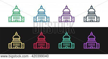Set Line White House Icon Isolated On Black And White Background. Washington Dc. Vector