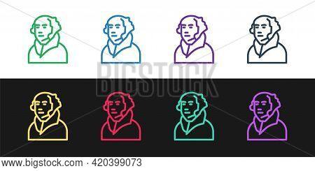 Set Line George Washington Icon Isolated On Black And White Background. Vector