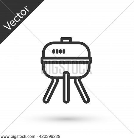 Grey Line Barbecue Grill Icon Isolated On White Background. Bbq Grill Party. Vector
