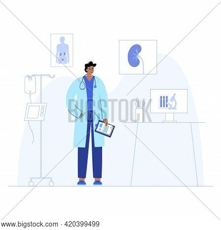 Nephrologist Medical Office. Doctor In Clinic. Medical Appointment, Diagnosis And Treatment For Kidn