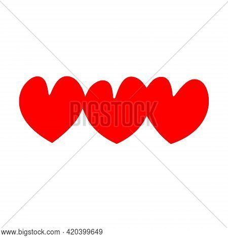 Three Red Hearts As A Symbol For A Family, 3 Heart Icon Vector Illustration Eps10.