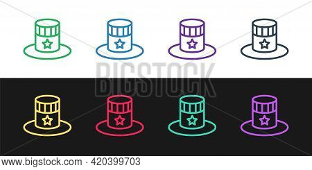 Set Line Patriotic American Top Hat Icon Isolated On Black And White Background. Uncle Sam Hat. Amer