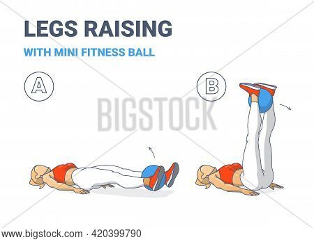 Girl Doing Leg Raises With Fitness Mini Ball Home Workout Exercise Guide Color Illustration.