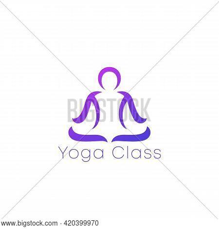 Yoga Class Logo, Man In Lotus Position