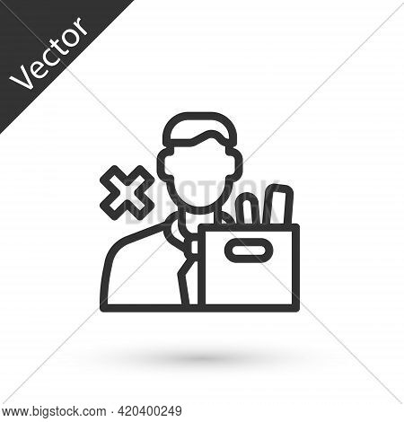 Grey Line Dismissed Sad Young Man Carrying Box With His Personal Belonging Leaving His Job Icon Isol