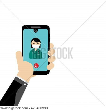 Patient Hand Holding Smartphone With Young Female Doctor.video Call For Consultation. Online Medical