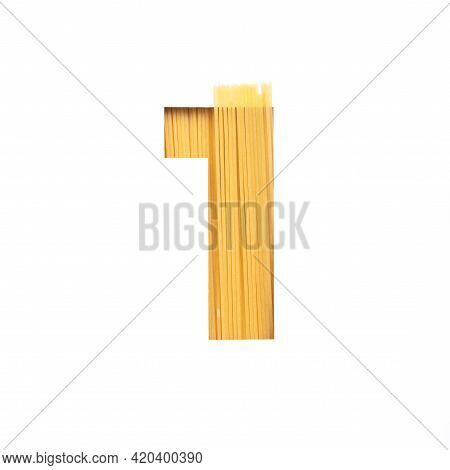Number One Made Of Pasta And White Cut Paper In Shape Of First Numeral. Typeface For Grocery Organic
