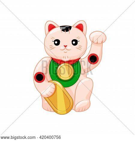 Japanese Maneki Neko, A Symbol Of Good Luck And Wealth. Cartoon Style. Vector Illustration
