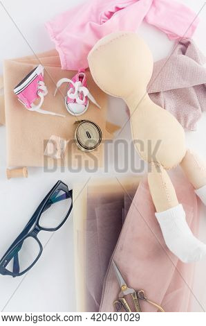 Designer Doll Made By Hand From Textiles With Accessories. Shaping Handcrafted The Doll's Body.  Cre