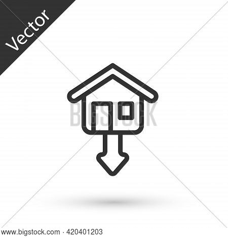 Grey Line Property And Housing Market Collapse Icon Isolated On White Background. Falling Property P