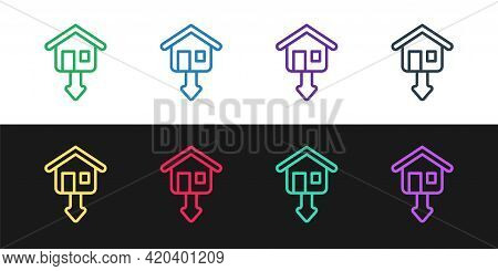 Set Line Property And Housing Market Collapse Icon Isolated On Black And White Background. Falling P