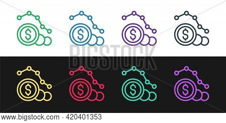 Set Line Dollar Rate Decrease Icon Isolated On Black And White Background. Cost Reduction. Money Sym
