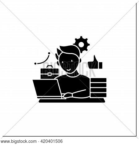 Workaholic Glyph Icon. Behavioral Causes. Man Works On Laptop. Hard Working. Satisfied From Work.ove