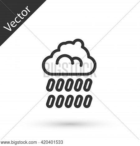Grey Line Cloud With Rain Icon Isolated On White Background. Rain Cloud Precipitation With Rain Drop