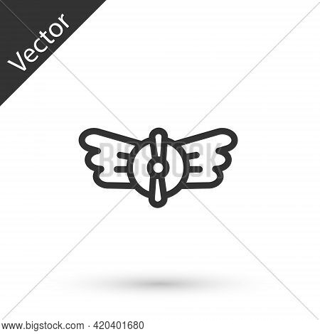 Grey Line Aviation Emblem Icon Isolated On White Background. Military And Civil Aviation Icons. Flyi