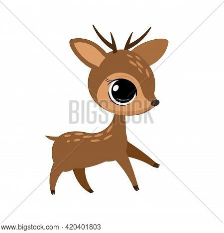 Little Cub Of A Fawn With Horns. Isolated Object On A White Background. Cheerful Kind Animal Child.