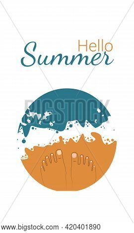 Summer Banner. Vector Legs In The Style Of A Line On The Seashore At The Water's Edge. Top View.