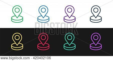 Set Line Map Pin Icon Isolated On Black And White Background. Navigation, Pointer, Location, Map, Gp