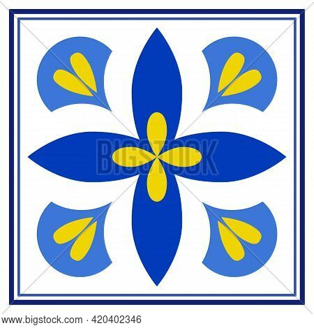 Azulejos Portuguese Traditional Ornamental Tile, Blue And Gold Pattern. Vector Illustration